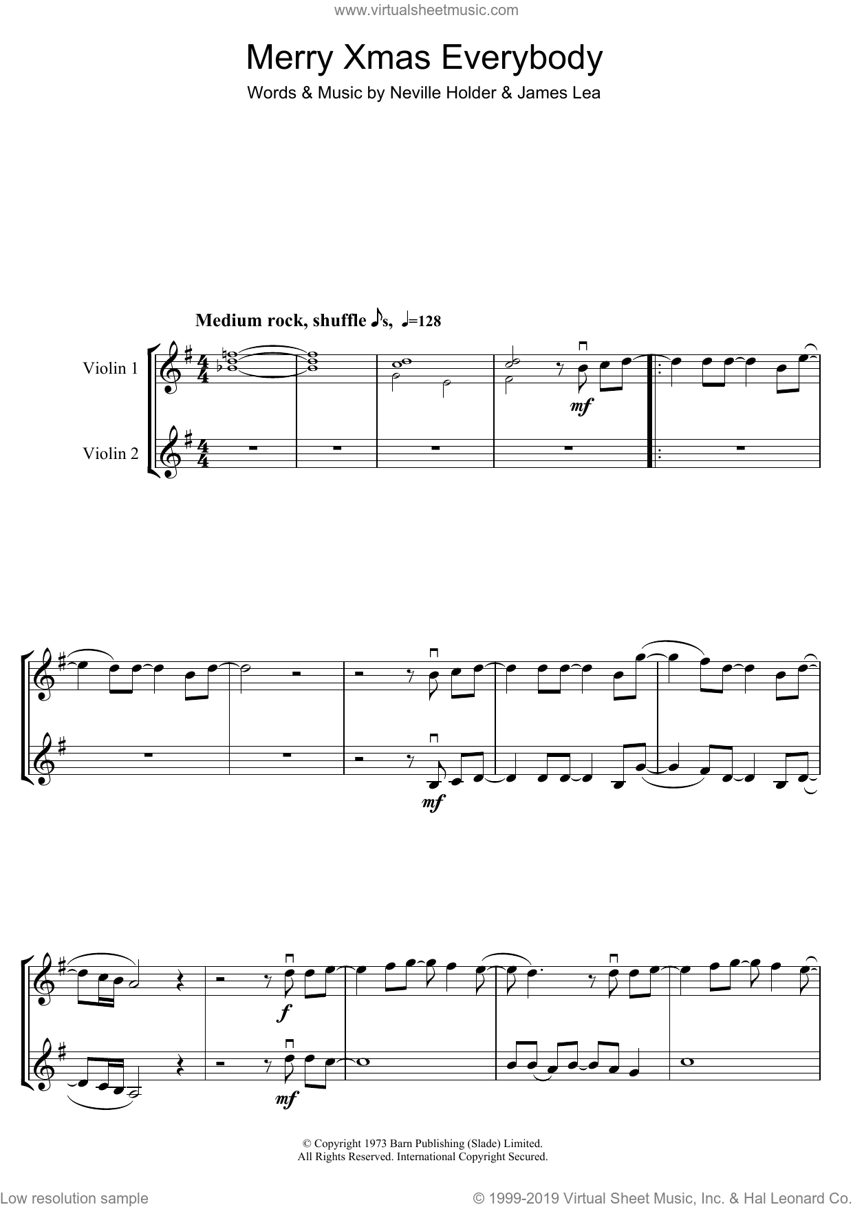 Merry Xmas Everybody sheet music for two violins (duets, violin duets) by Mud, S Club 7, Slade, James Lea and Neville Holder, intermediate skill level