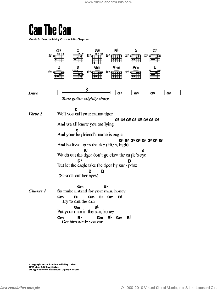 Quatro - Can The Can sheet music for guitar (chords) [PDF]