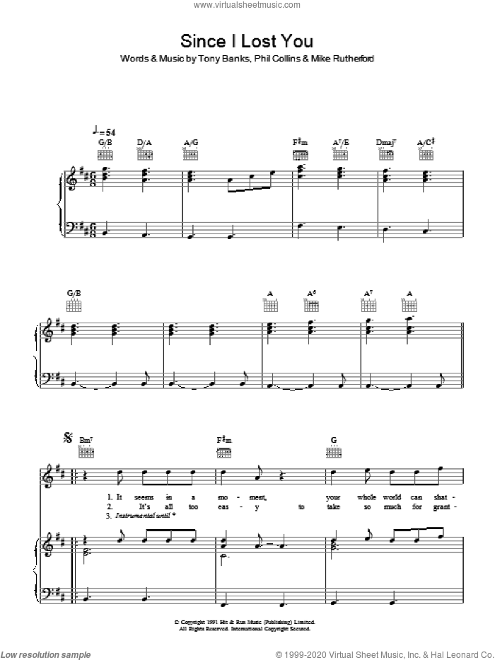 Since I Lost You sheet music for voice, piano or guitar by Genesis and Phil Collins, intermediate voice, piano or guitar. Score Image Preview.