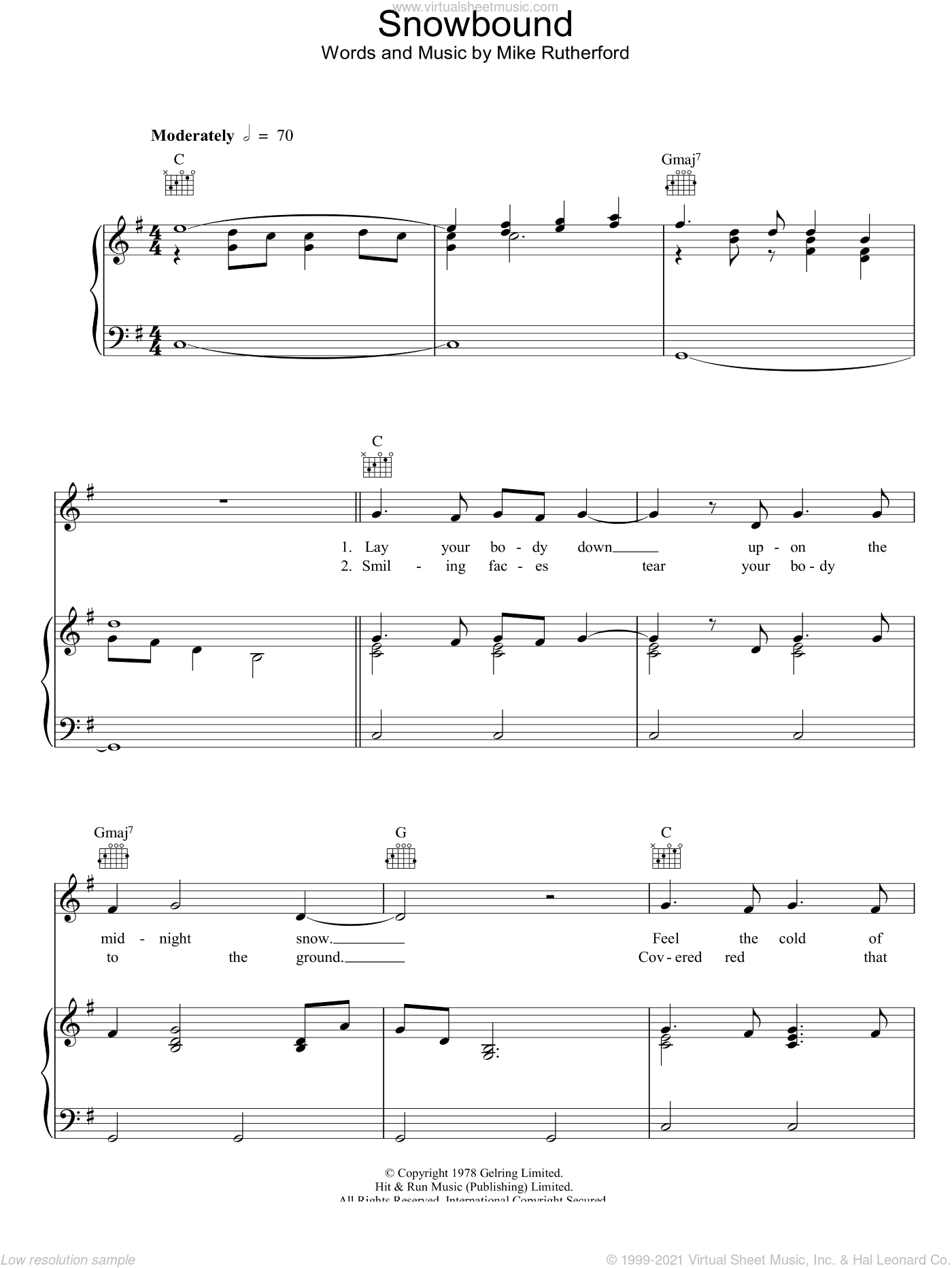 Snowbound sheet music for voice, piano or guitar by Mike Rutherford and Genesis. Score Image Preview.