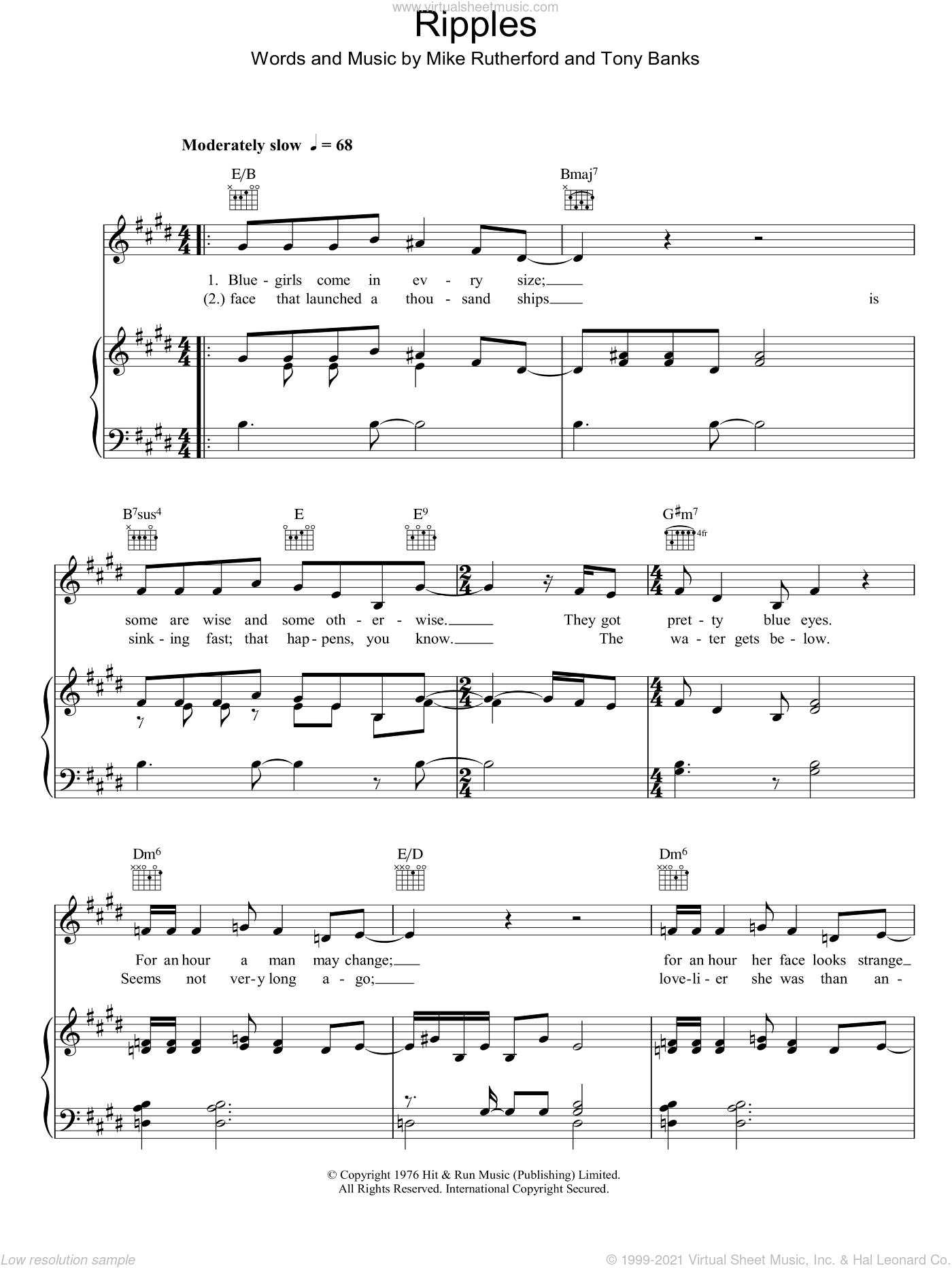 Ripples sheet music for voice, piano or guitar by Anthony Banks
