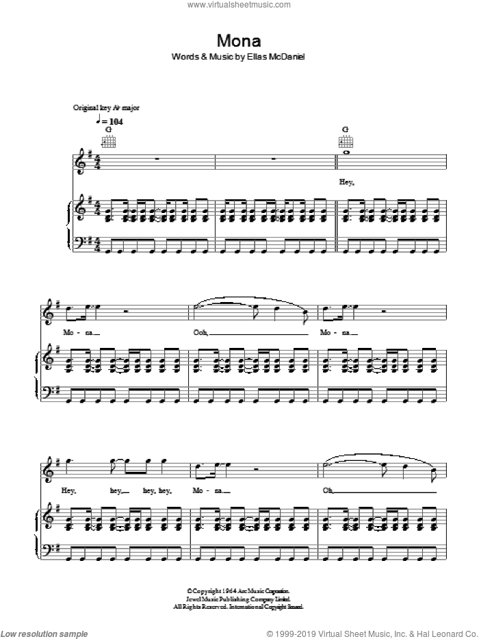 Mona sheet music for voice, piano or guitar by Bo Diddley, intermediate voice, piano or guitar. Score Image Preview.