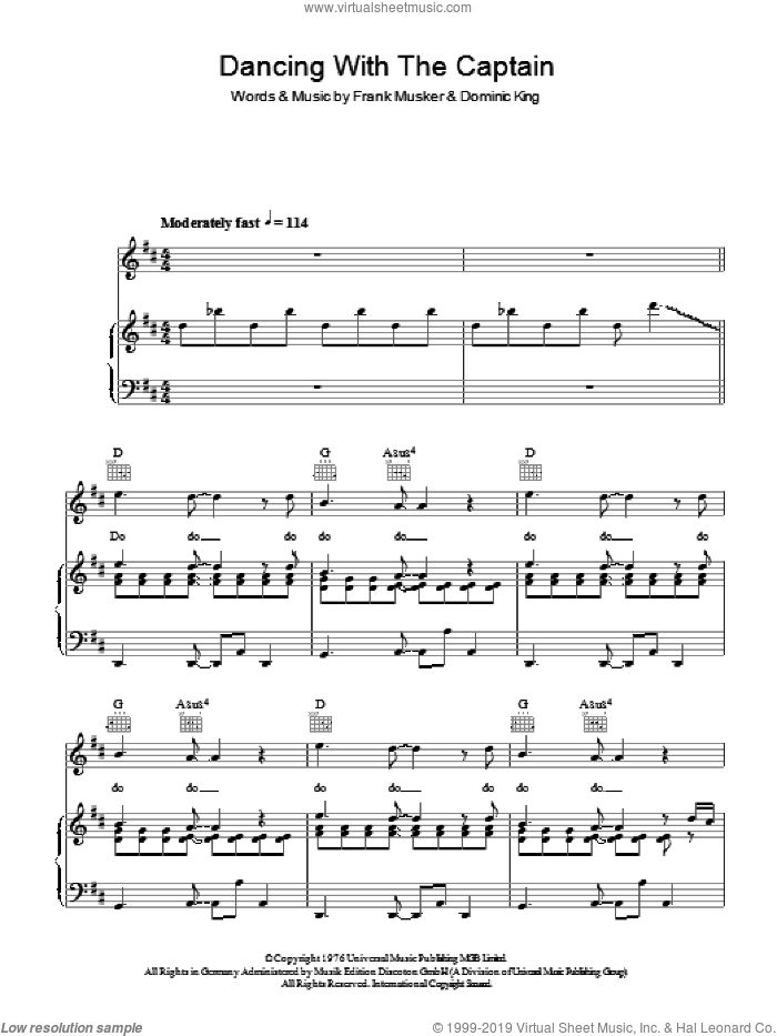 Dancing With The Captain sheet music for voice, piano or guitar by Dominic King and Frank Musker. Score Image Preview.