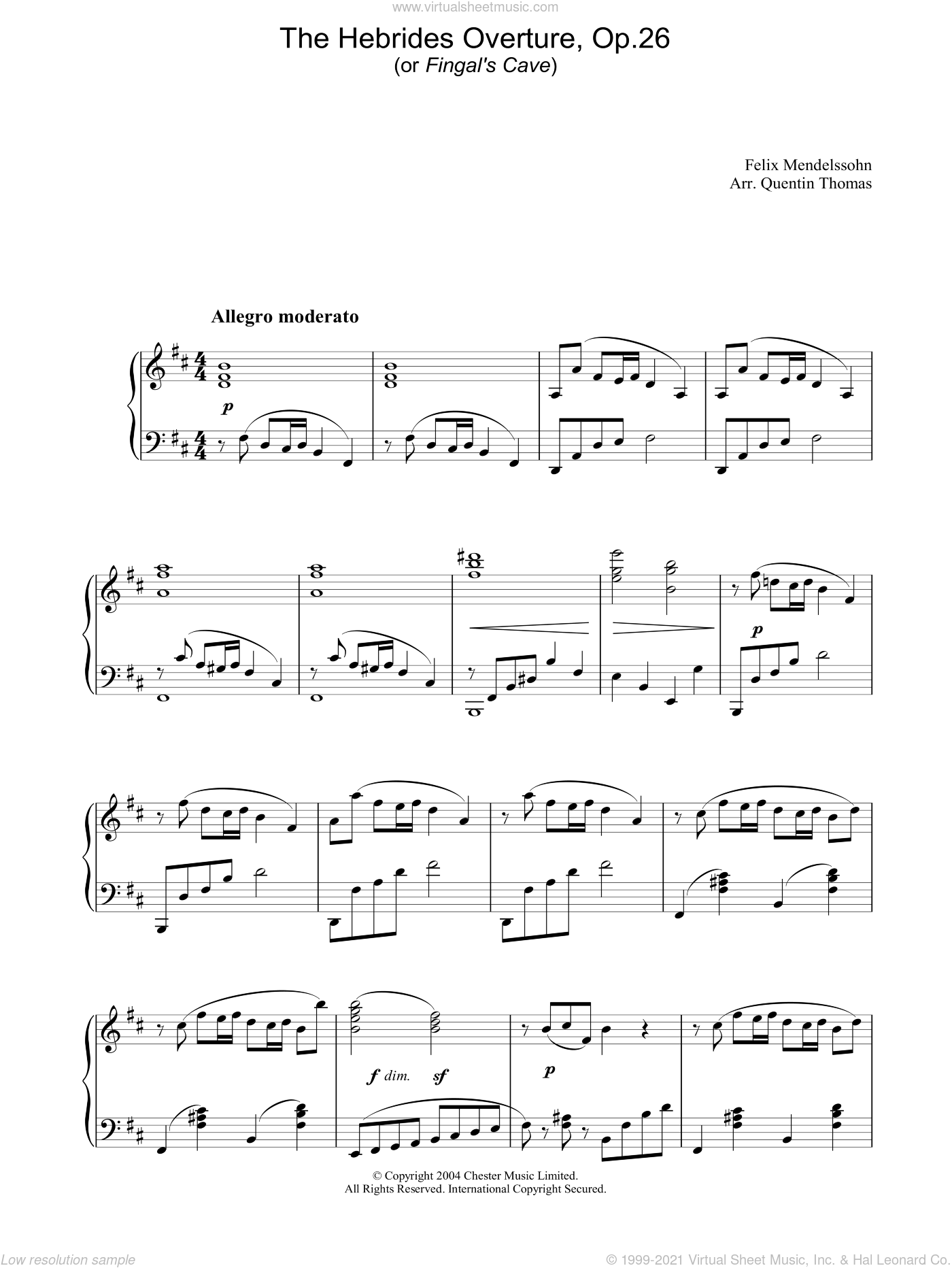 The Hebrides Overture, Op.26 sheet music for piano solo by Felix Mendelssohn-Bartholdy, classical score, intermediate piano. Score Image Preview.