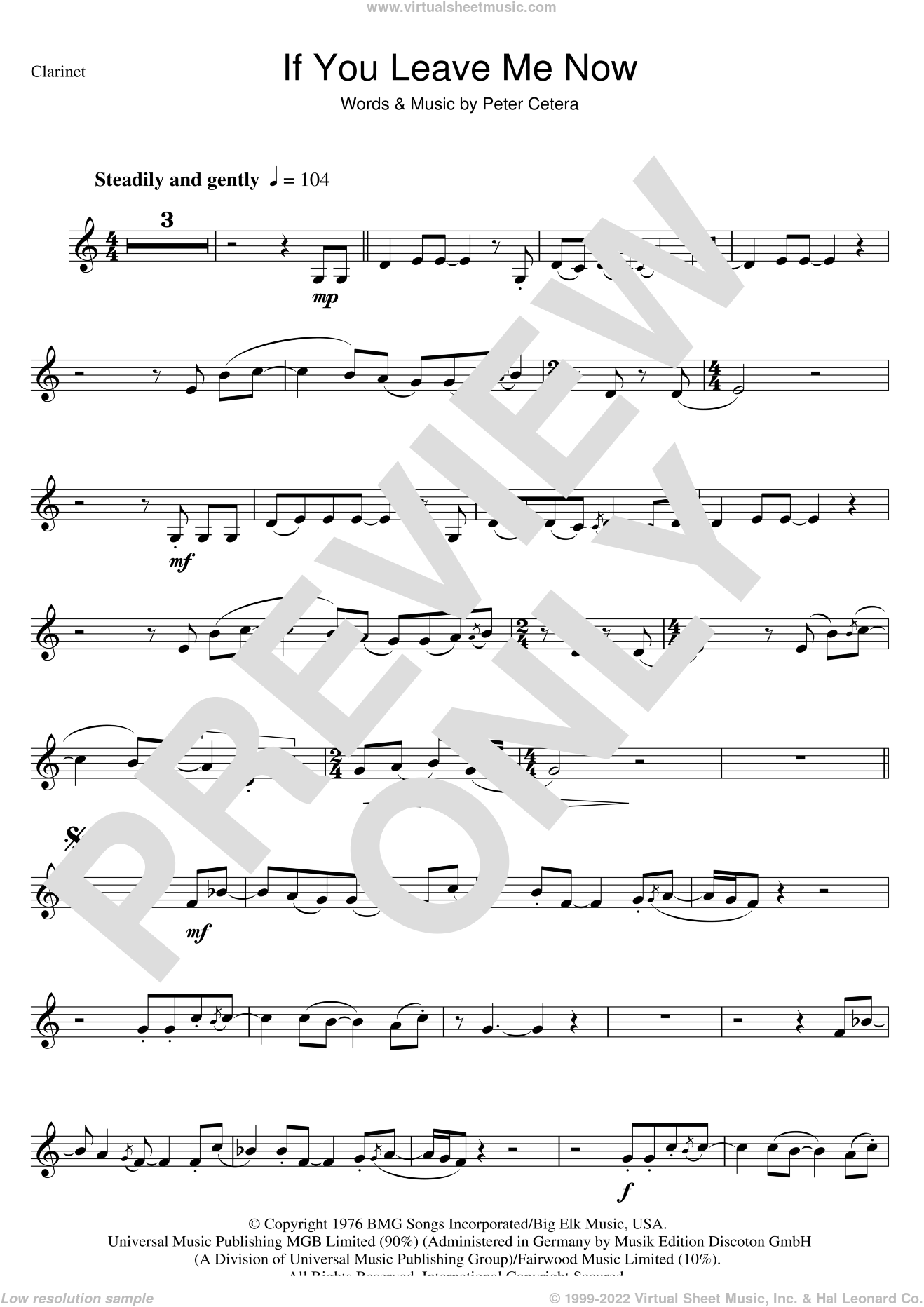 If You Leave Me Now sheet music for voice and other instruments (fake book) by Chicago and Peter Cetera, intermediate skill level
