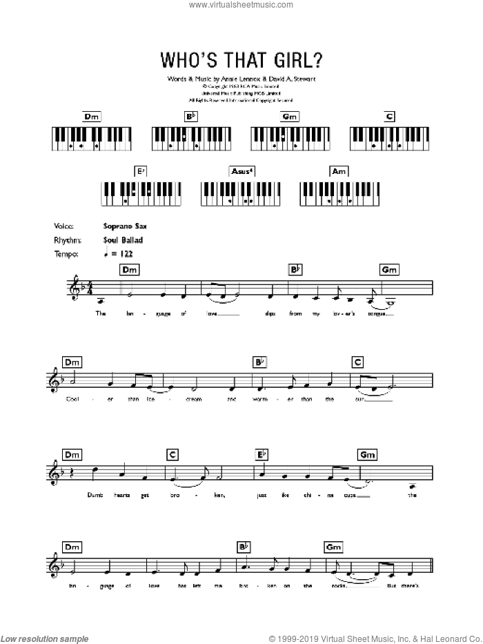 Who's That Girl? sheet music for piano solo (chords, lyrics, melody) by David Stewart, Eurythmics and Annie Lennox. Score Image Preview.
