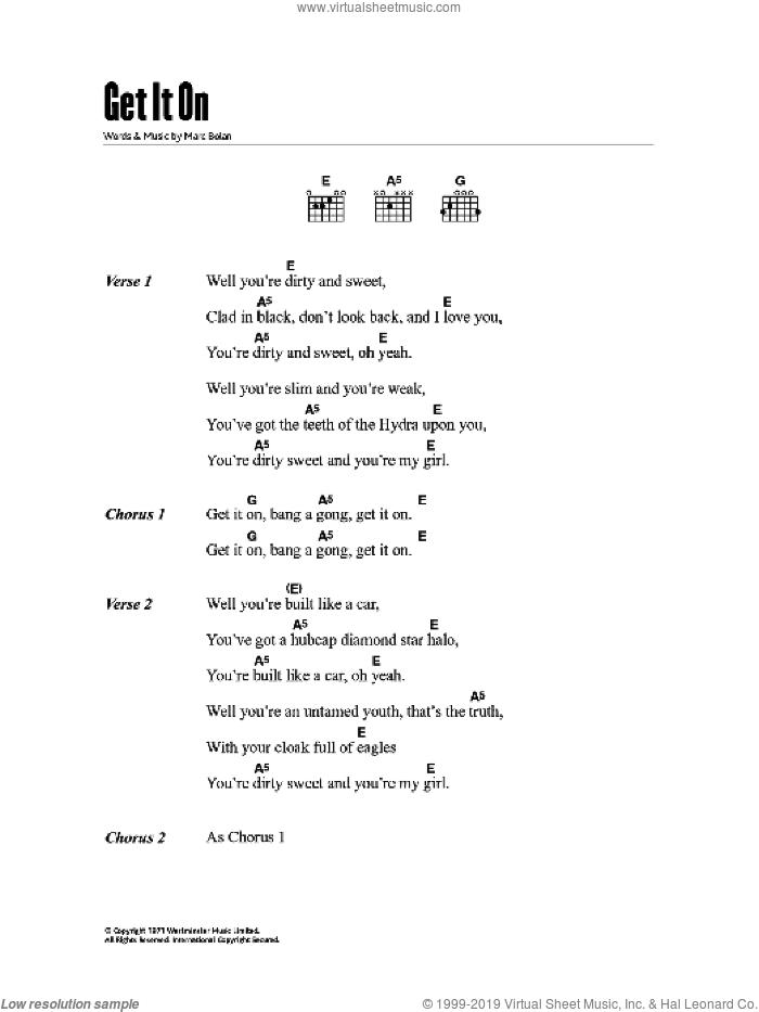 le plus populaire meilleur site bébé Rex - Bang A Gong (Get It On) sheet music for guitar (chords)