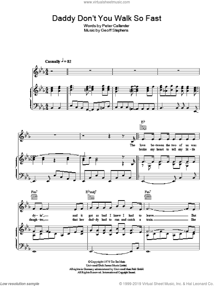 Daddy Don't You Walk So Fast sheet music for voice, piano or guitar by Geoff Stephens