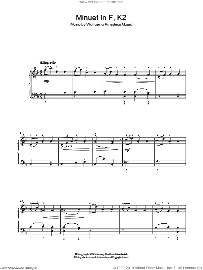 Minuet in F, K2 sheet music for piano solo by Wolfgang Amadeus Mozart, classical score, easy