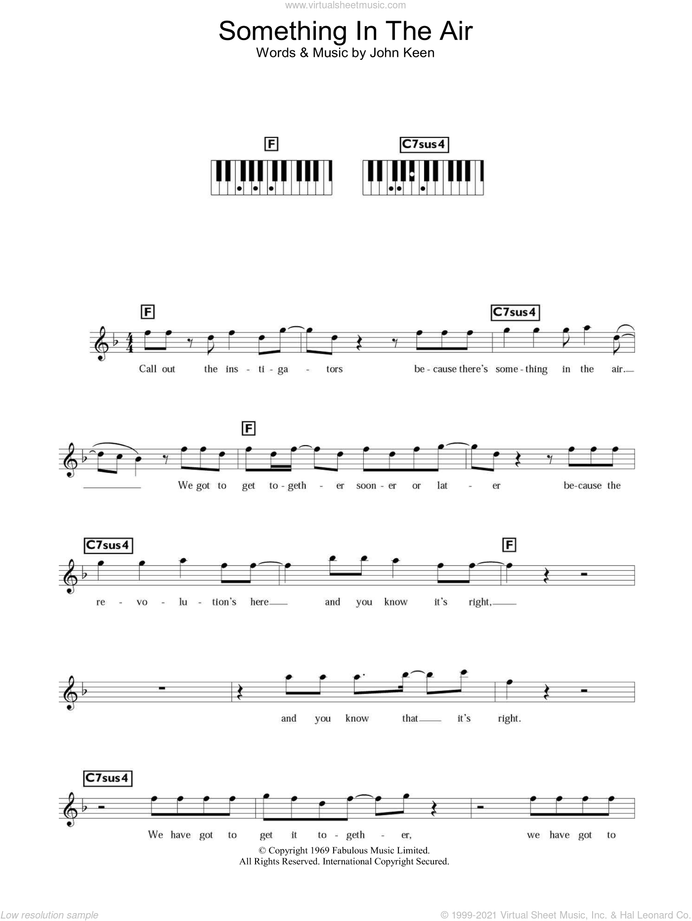 Something In The Air sheet music for piano solo (chords, lyrics, melody) by Thunderclap Newman and John Keen, intermediate piano (chords, lyrics, melody). Score Image Preview.