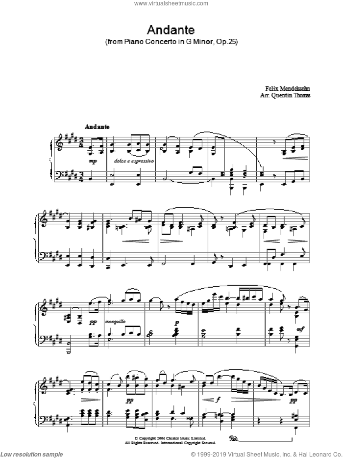 Andante sheet music for piano solo by Felix Mendelssohn-Bartholdy