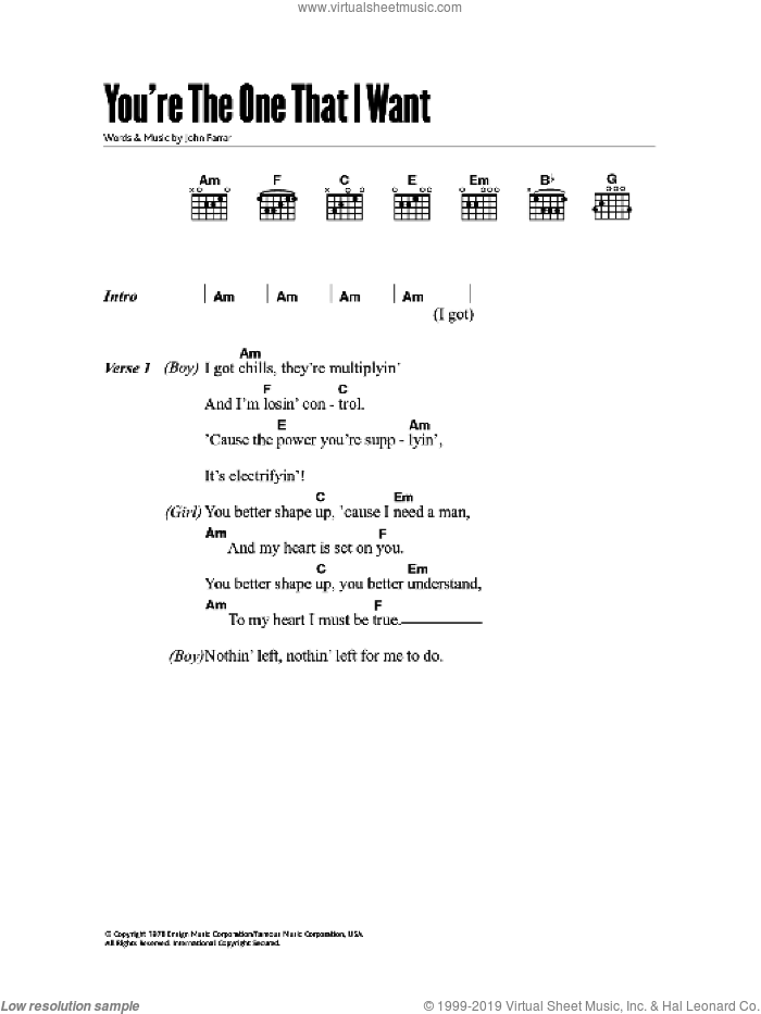 You're The One That I Want sheet music for guitar (chords) by John Farrar