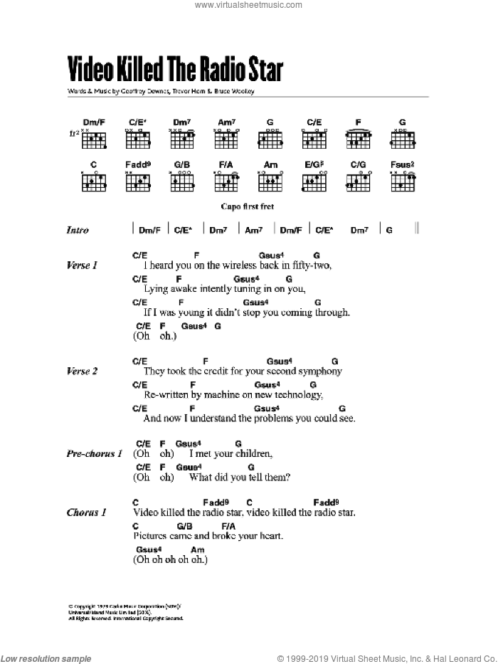 Video Killed The Radio Star Sheet Music For Guitar Chords By Buggles: Buggles Sheet Music At Alzheimers-prions.com
