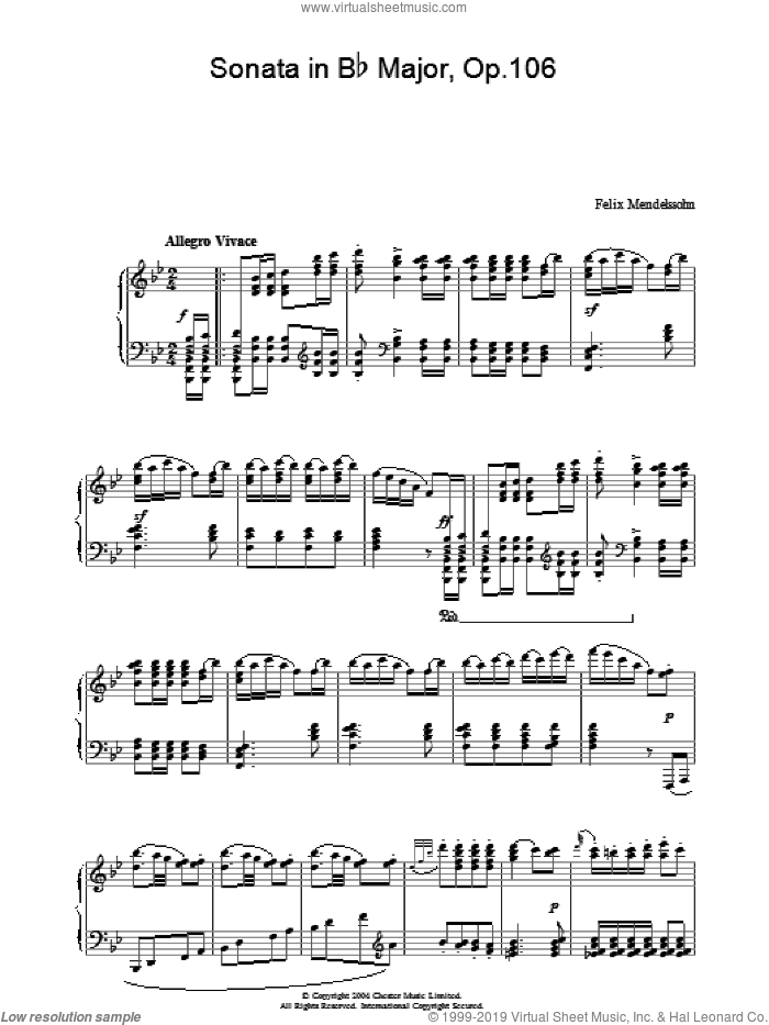 Sonata in Bb Major, Op.106 sheet music for piano solo by Felix Mendelssohn-Bartholdy. Score Image Preview.