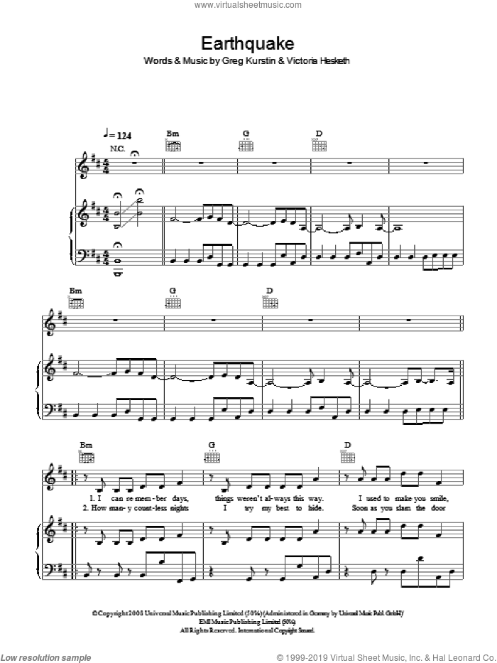 Earthquake sheet music for voice, piano or guitar by Greg Kurstin and Victoria Hesketh. Score Image Preview.