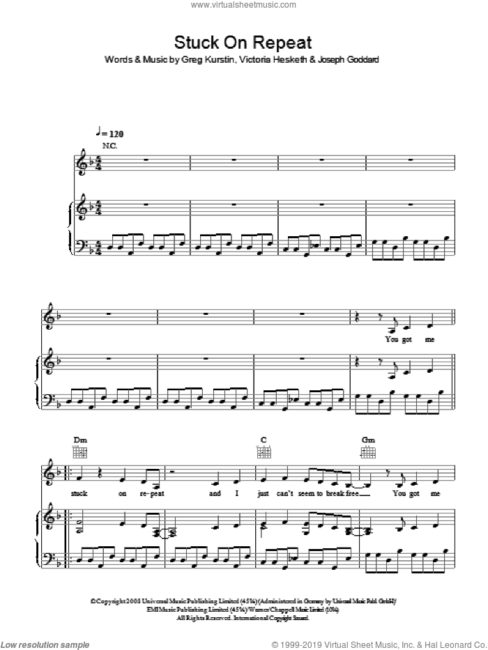 Stuck On Repeat sheet music for voice, piano or guitar by Greg Kurstin and Victoria Hesketh. Score Image Preview.