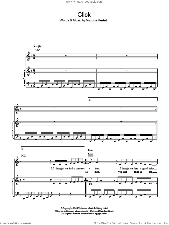 Click sheet music for voice, piano or guitar by Victoria Hesketh