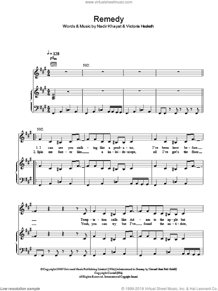 Remedy sheet music for voice, piano or guitar by Little Boots, Nadir Khayat and Victoria Hesketh, intermediate skill level