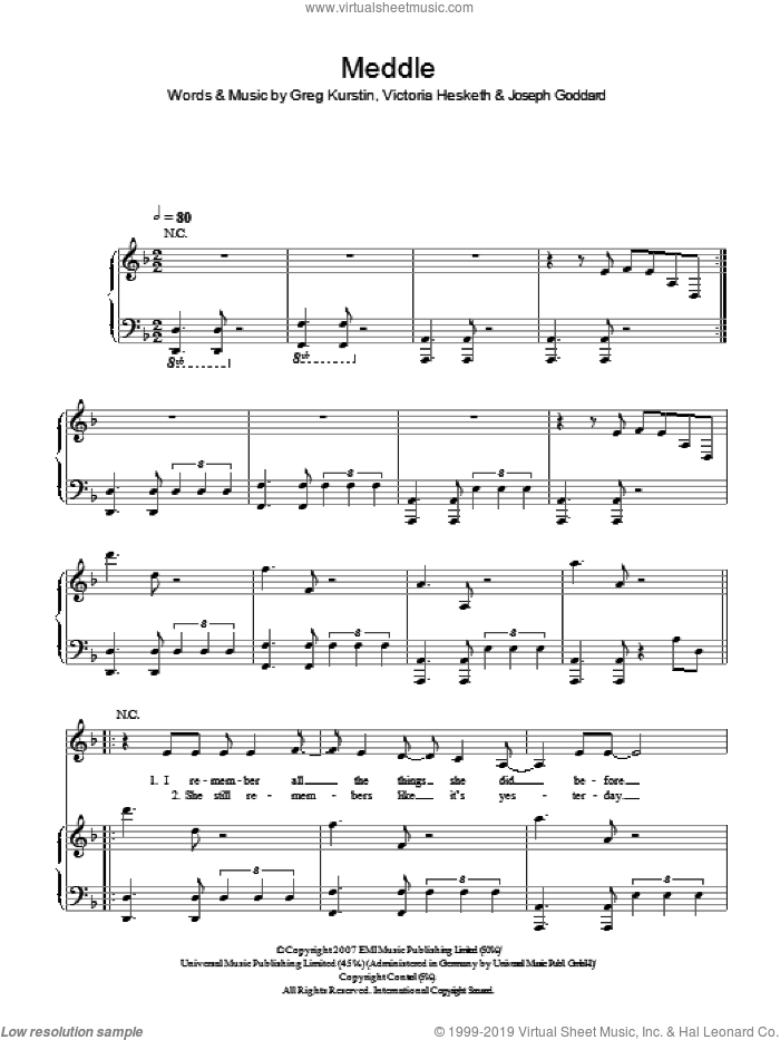 Meddle sheet music for voice, piano or guitar by Greg Kurstin