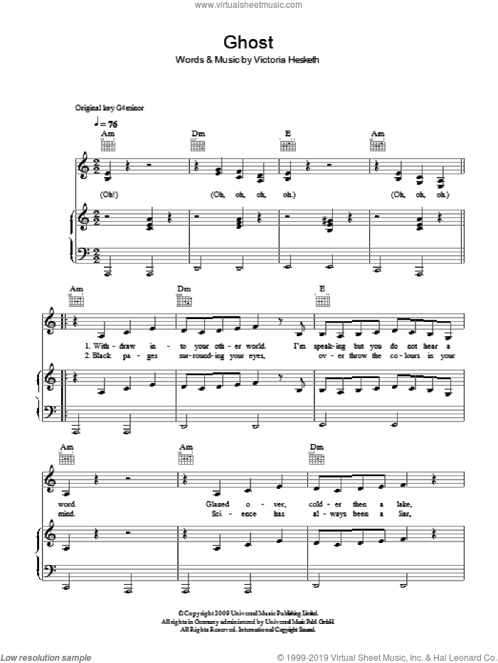 Ghost sheet music for voice, piano or guitar by Victoria Hesketh. Score Image Preview.