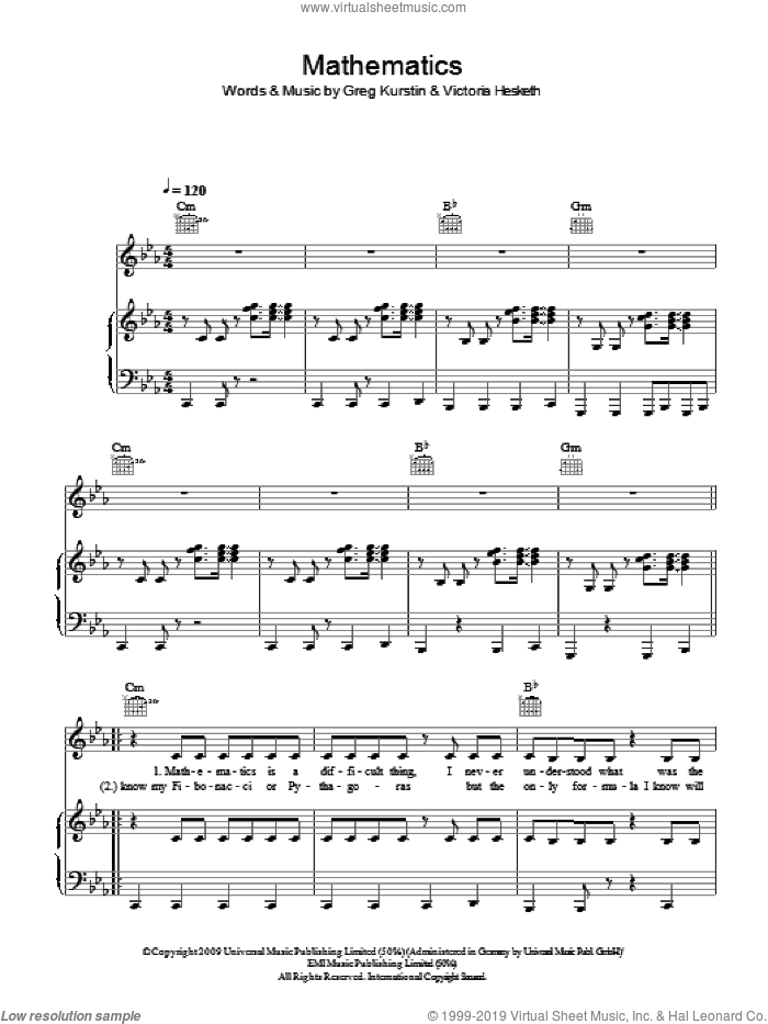 Mathematics sheet music for voice, piano or guitar by Little Boots, Greg Kurstin and Victoria Hesketh, intermediate