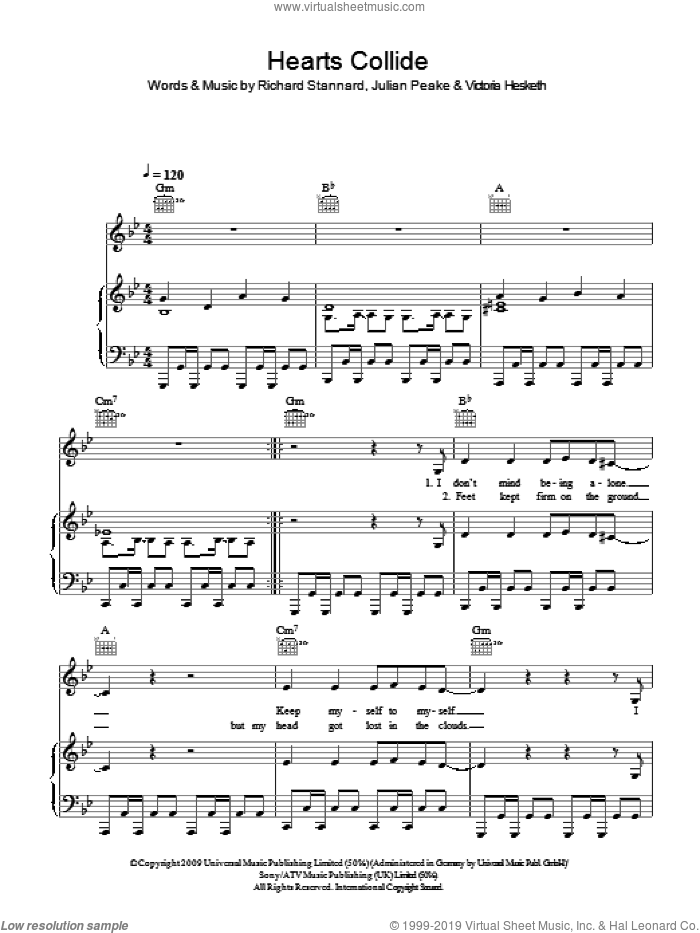 Hearts Collide sheet music for voice, piano or guitar by Julian Peake