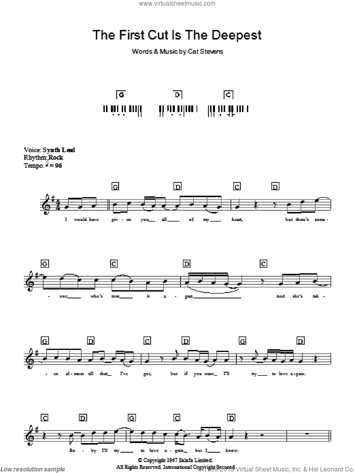 The First Cut Is The Deepest sheet music for piano solo (chords, lyrics, melody) by Cat Stevens and Sheryl Crow. Score Image Preview.