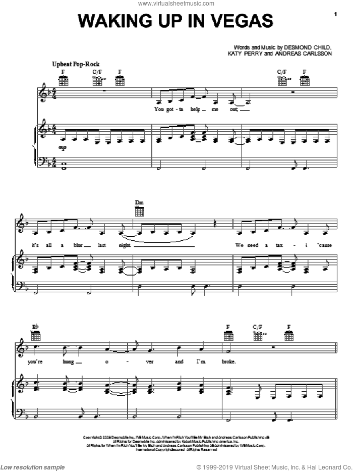 Waking Up In Vegas sheet music for voice, piano or guitar by Katy Perry, Andreas Carlsson and Desmond Child, intermediate skill level
