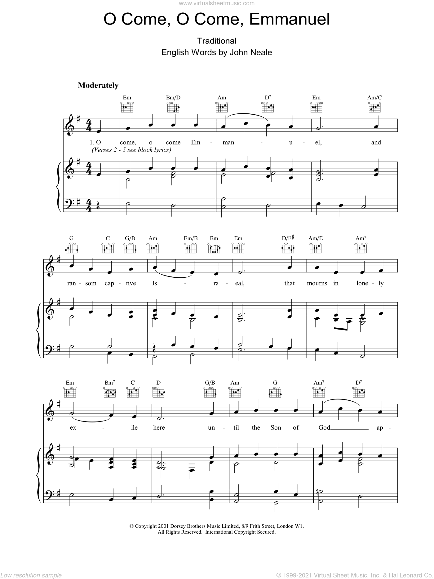 O Come, O Come Emmanuel sheet music for voice, piano or guitar by John Mason Neale, Miscellaneous, 13th Century Plainsong and Henry S. Coffin, intermediate skill level