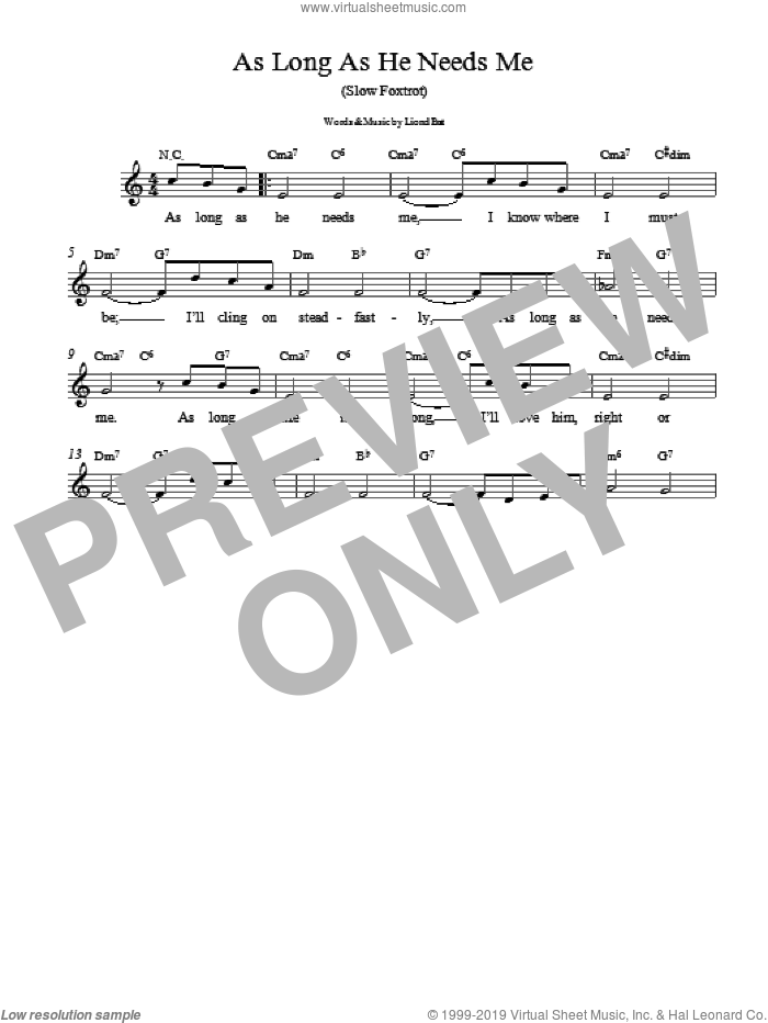 As Long As He Needs Me sheet music for voice, piano or guitar by Lionel Bart, intermediate skill level