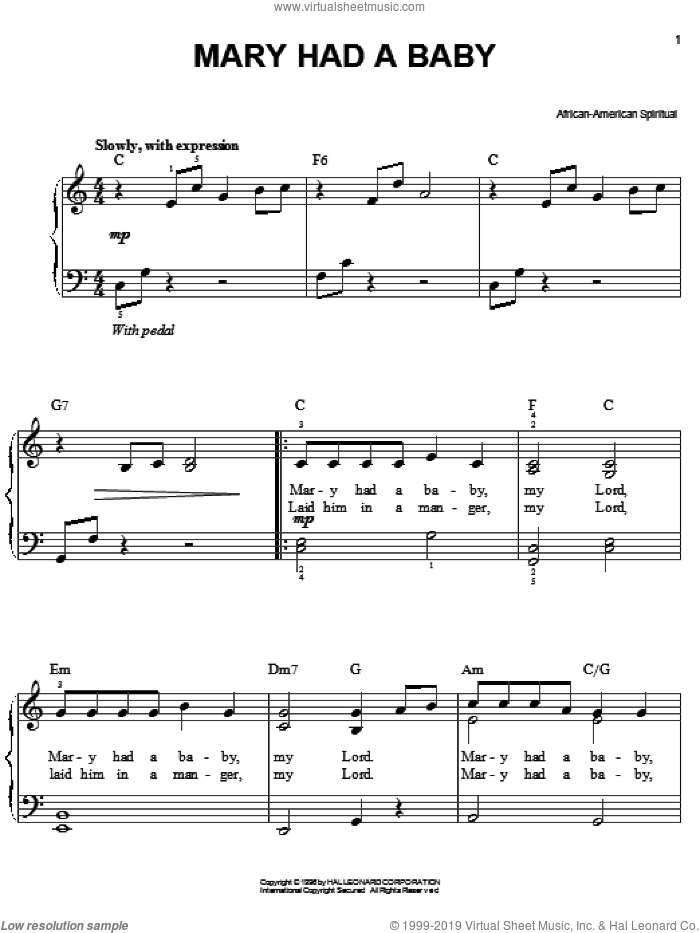 Mary Had A Baby sheet music for piano solo. Score Image Preview.