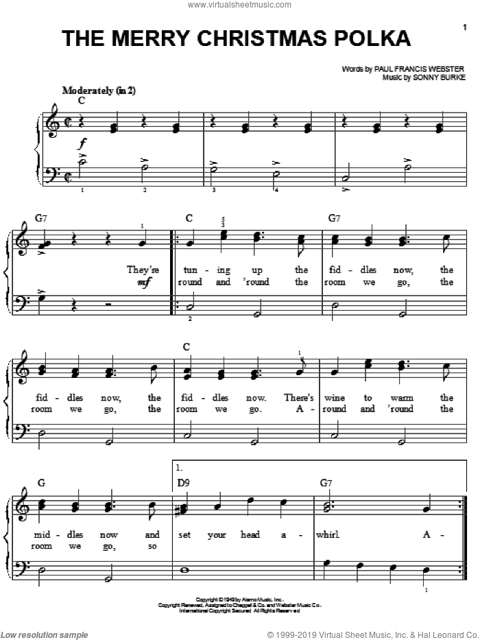 The Merry Christmas Polka sheet music for piano solo by Paul Francis Webster and Sonny Burke, easy skill level