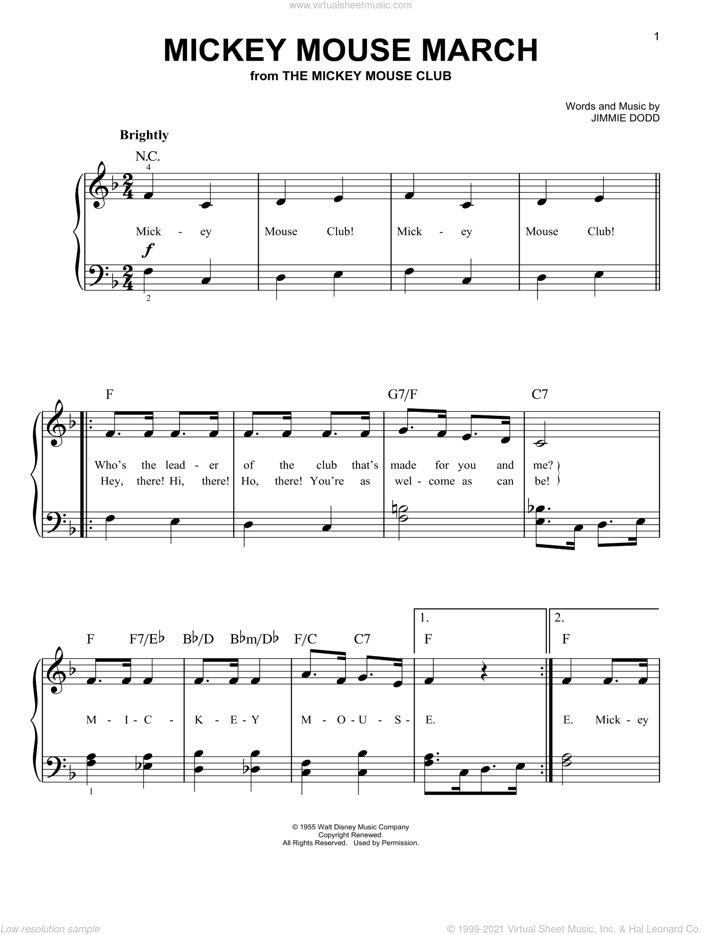 Mickey Mouse March sheet music for piano solo by Jimmie Dodd. Score Image Preview.
