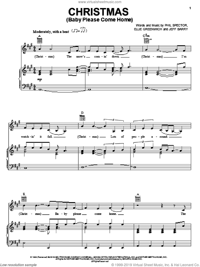 Christmas (Baby Please Come Home) sheet music for voice, piano or guitar by Jeff Barry, Mariah Carey, Melissa Etheridge, Ellie Greenwich and Phil Spector. Score Image Preview.