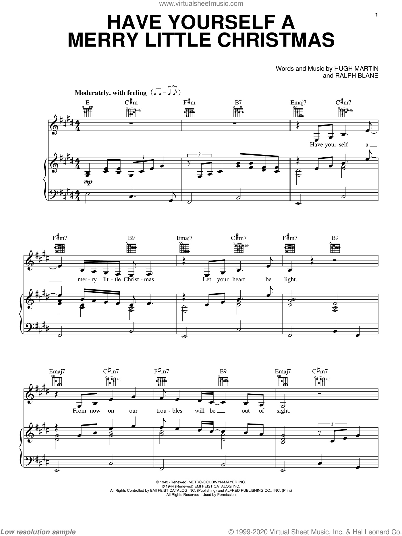 Have Yourself A Merry Little Christmas sheet music for voice, piano or guitar by Melissa Etheridge, Carpenters, Hugh Martin and Ralph Blane, intermediate