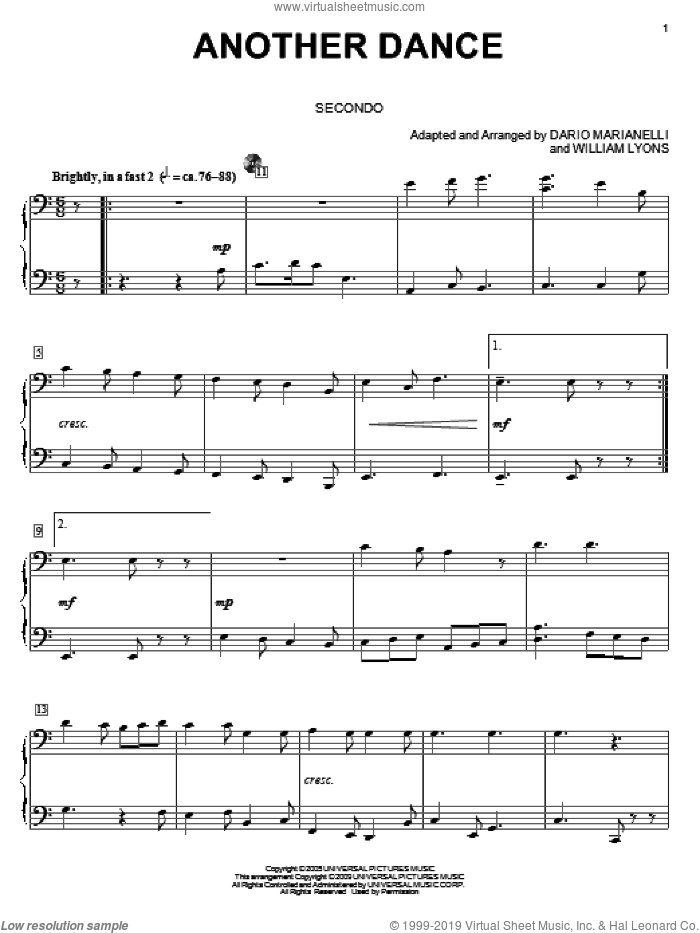 Another Dance sheet music for piano four hands by Dario Marianelli and Carol Klose, intermediate