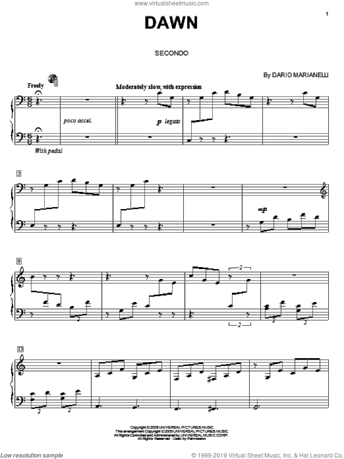 Dawn sheet music for piano four hands (duets) by Dario Marianelli and Carol Klose. Score Image Preview.
