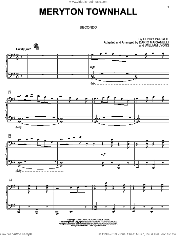 Meryton Townhall sheet music for piano four hands (duets) by Dario Marianelli, Carol Klose and Henry Purcell. Score Image Preview.