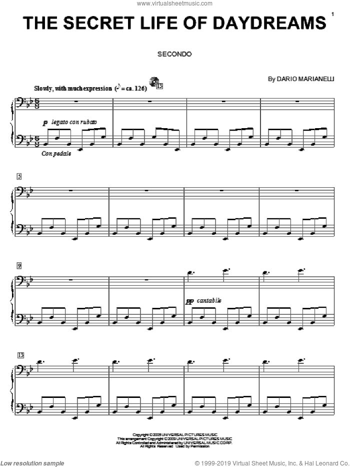 The Secret Life Of Daydreams sheet music for piano four hands (duets) by Dario Marianelli and Carol Klose, intermediate piano four hands. Score Image Preview.