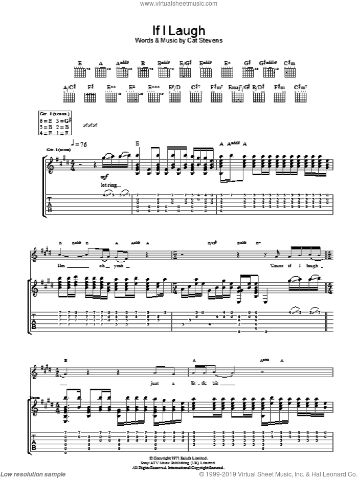 If I Laugh sheet music for guitar (tablature) by Cat Stevens, intermediate. Score Image Preview.