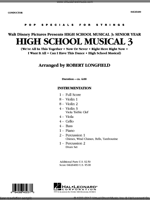 High School Musical 3 (COMPLETE) sheet music for orchestra by Robert Longfield