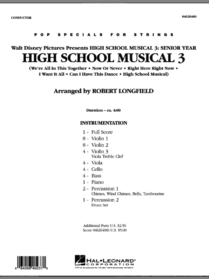 High School Musical 3 (COMPLETE) sheet music for orchestra by Robert Longfield, intermediate orchestra. Score Image Preview.