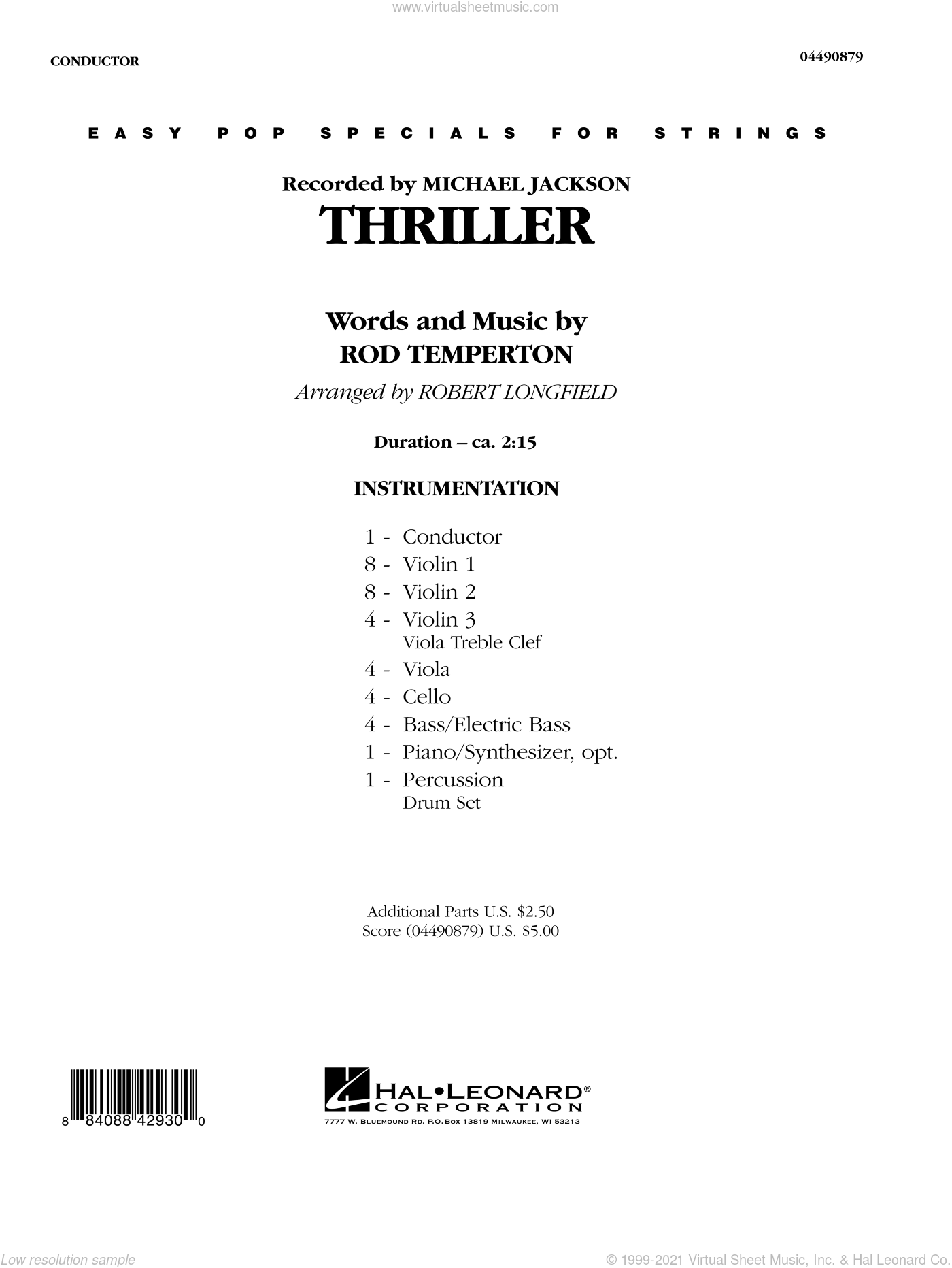 Thriller sheet music for orchestra (full score) by Rod Temperton