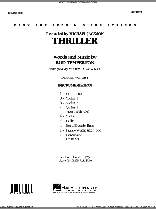 Thriller, complete set of parts (COMPLETE) sheet music for orchestra by Rod Temperton