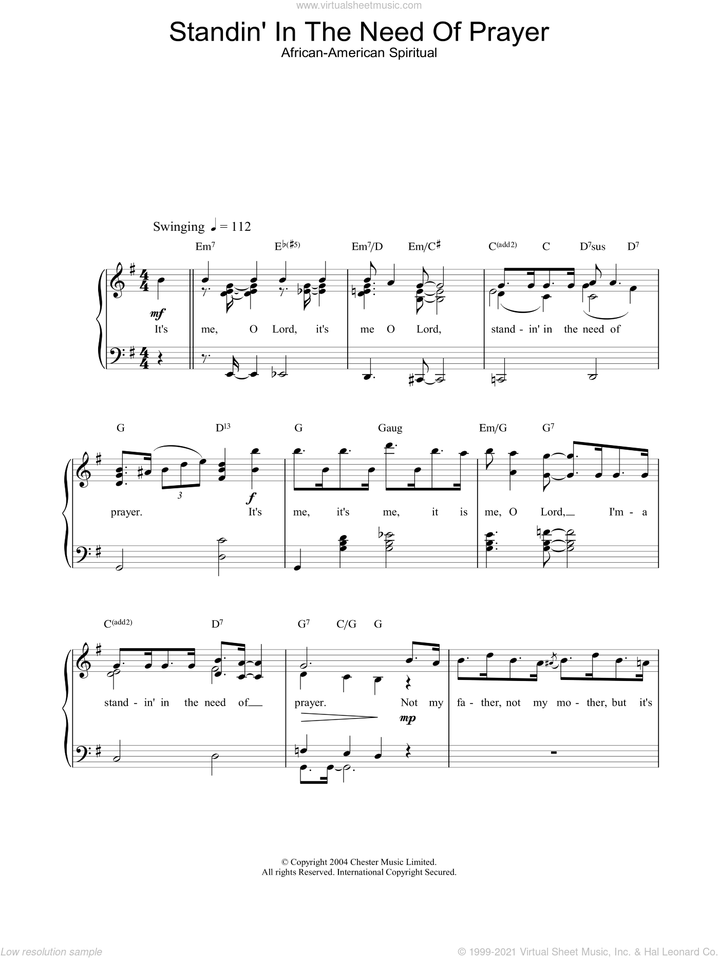 Standin' In The Need Of Prayer sheet music for piano solo. Score Image Preview.