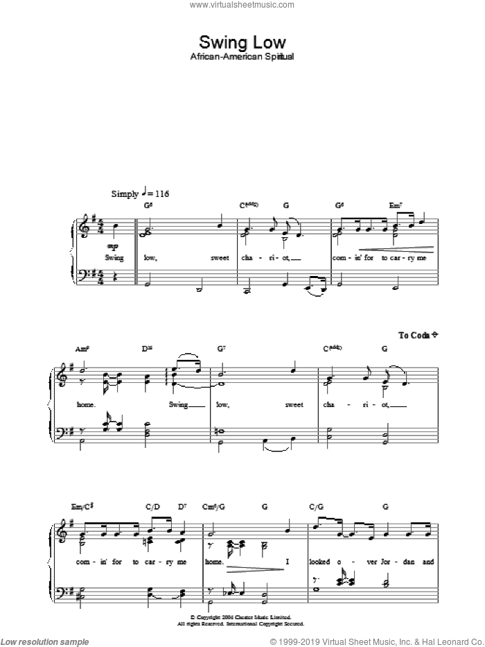 Swing Low sheet music for piano solo, easy skill level