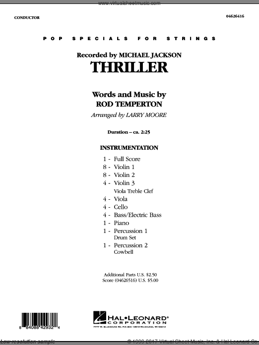 Thriller (COMPLETE) sheet music for orchestra by Rod Temperton