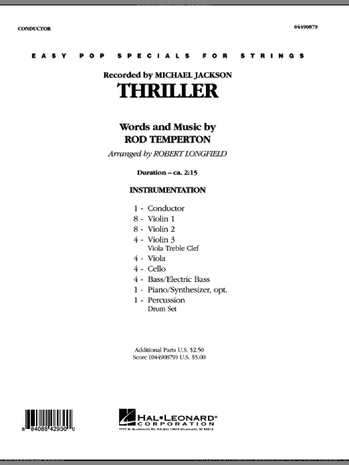 Thriller (COMPLETE) sheet music for orchestra by Robert Longfield, Rod Temperton and Michael Jackson, intermediate
