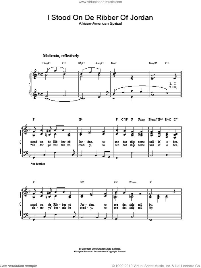 I Stood On De Ribber Of Jordan sheet music for piano solo. Score Image Preview.