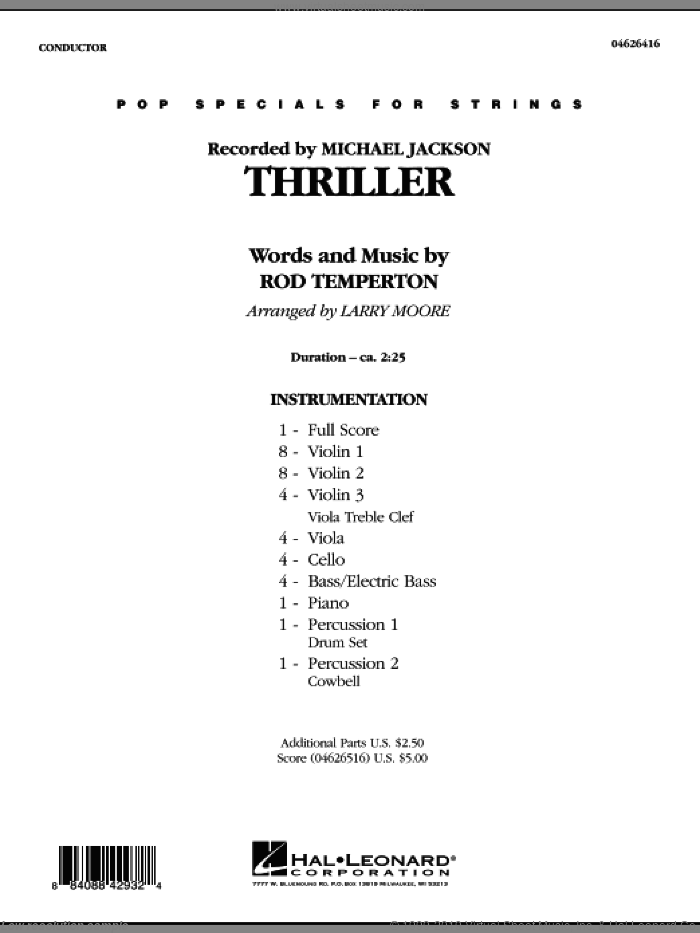 Thriller (COMPLETE) sheet music for orchestra by Larry Moore, Rod Temperton and Michael Jackson, intermediate skill level